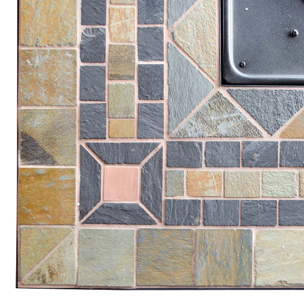 Black slate floor tiles
